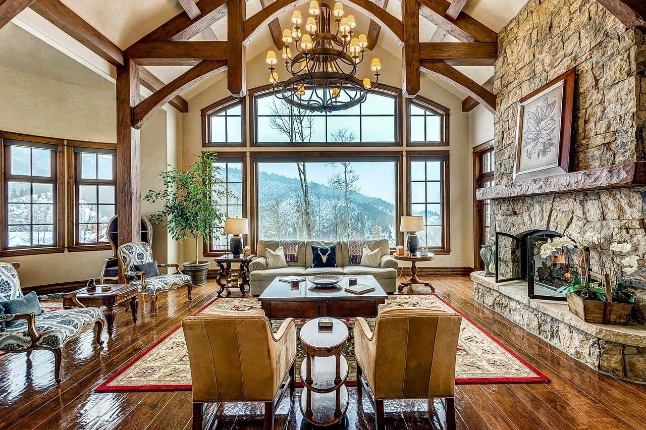 NC mountain cabin home living room fireplace sitting